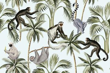 Tropical vintage monkey, sloth, lemur,   palm trees floral seamless pattern blue background. Exotic jungle wallpaper.