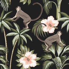 Tropical vintage monkey, pink hibiscus flower, palm trees floral seamless pattern dark background. Exotic jungle wallpaper.