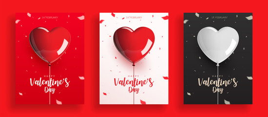 Set of Valentine's Day, balloons with rope and confetti. Design for poster banner card, Realistic vector illustration. Wall mural