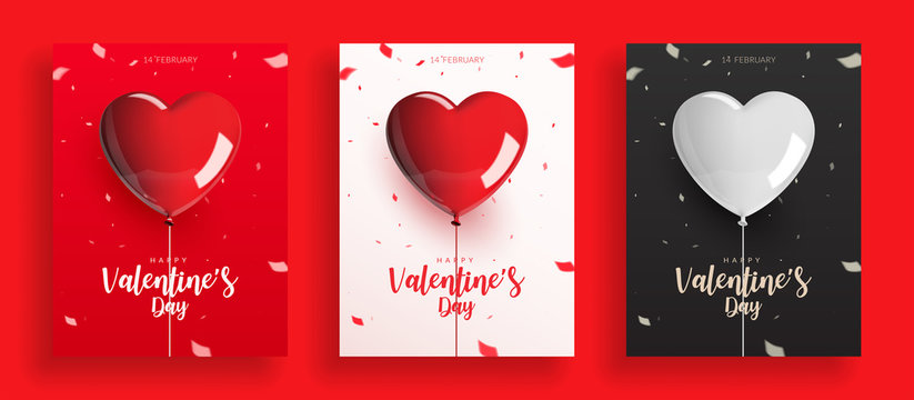 Set of Valentine's Day, balloons with rope and confetti. Design for poster banner card, Realistic vector illustration.