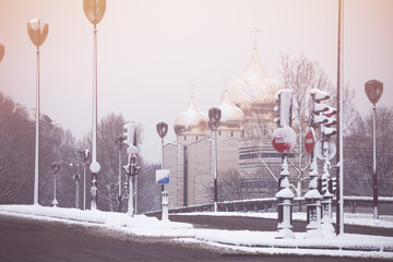 Russian culture center in Paris winter snow day Wall mural