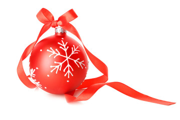 Deurstickers Bol Beautiful Christmas ball with ribbon on white background