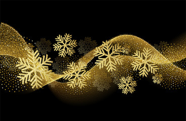 Vector Christmas card with gold snowflakes and glitter