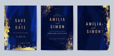 Luxury Blue and Gold invite card, Vector invitation design with golden brush, Gold Powder and blue watercolor decoration style background design for wedding and cover design template. Fotomurales