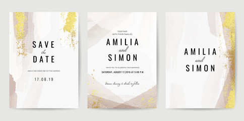 Luxury Gold invite card, Vector invitation design with golden brush, Gold Powder and blue watercolor decoration style background design for wedding and cover design template. Wall mural