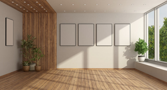 Empty minimalist living room with large window