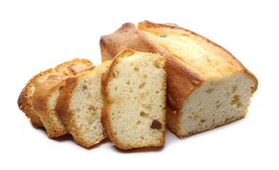 Fototapeten Brot Fruit cake slices isolated on white background