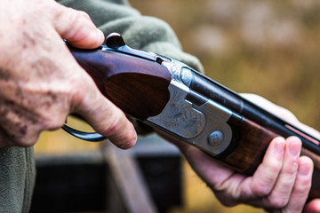 Loaded hunting gun, clay pigeon shooting, Aviemore, Scotland, UK