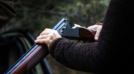 Smoking hunting gun or shotgun, clay pigeon shooting, Aviemore, Scotland, UK