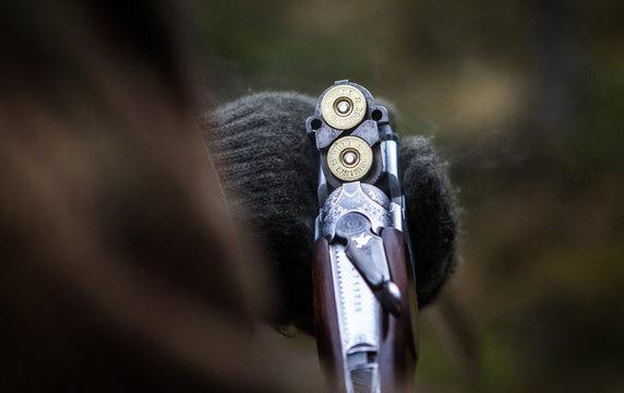 Loaded hunting gun, clay pigeon shooting, Aviemore, Scotland, UK