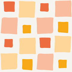 Hand drawn irregular color blocks in orange, pastel yellow and pink. Seamless geometric vector pattern on light background. Relaxed vibe. Great for wellness, summer products, stationery, packaging