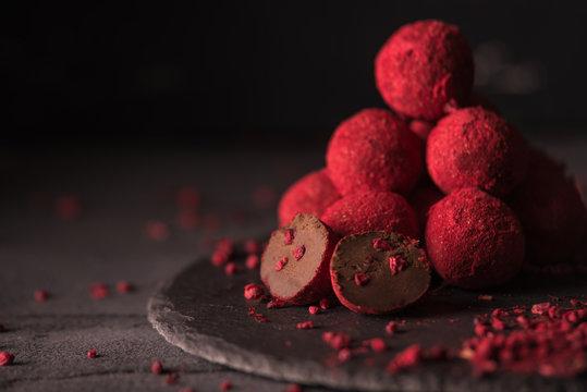 chocolate truffle with raspberry powder