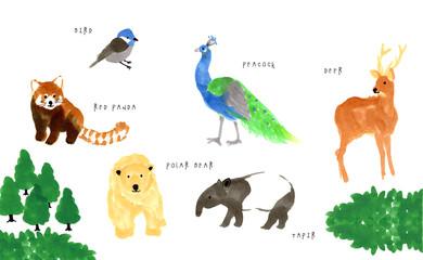 シンプルな動物のイラスト Fototapete