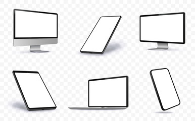 Computer Screen, Laptop, Tablet PC and Mobile Phone Vector illustration With Perspective Views.  Blank Screen Devices on Transparent Background. Fotobehang