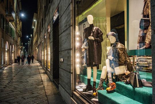 Milan, Italy - November 10, 2016: Street with luxury clothing in Milan fashion district.