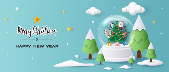 Türaufkleber Pool Santa Claus and friends in Christmas globe, Merry Christmas and Happy New Year 2020, paper art and craft style.