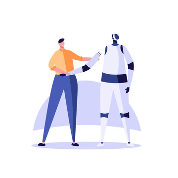 Hardware engineer making and repairing robot. Concept of robot engineering, hardware development, modern technology, machines education. Vector illustration for banner, ui