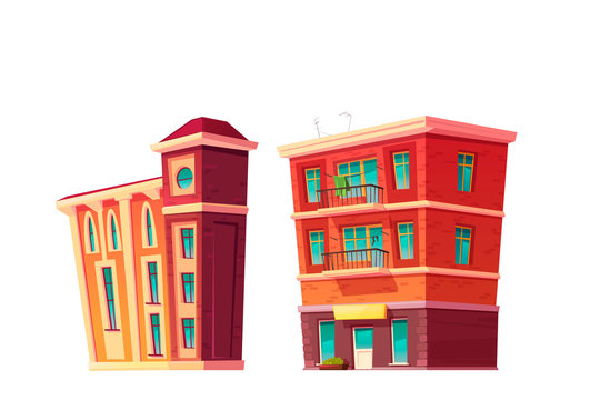 Urban retro building cartoon vector set illustration. Old residential and government buildings with shop or cafe on lower floor, isolated on white background