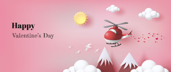 Paper art style of red helicopter flying in the air with many hearts floating, for posters, brochure, invitation, banners, flat-style vector illustration.