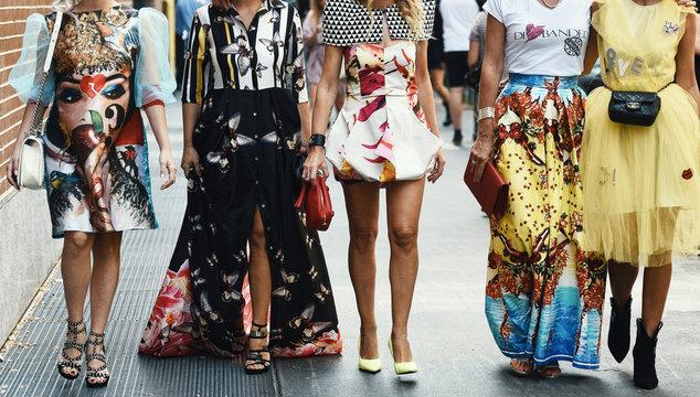 September 20, 2018: Milan, Italy - Street style outfits in detail during Milan Fashion Week  - MFWSS19