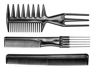 Black hair combs isolated on a white background