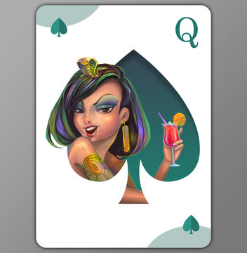 Cleopatra. Queen of Spades. Bahama Mama cocktail