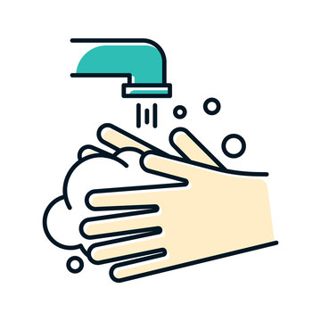 Rinse hands color icon. Hygiene and healthcare. Common cold precaution. Germ cleansing. Washing hand. Disinfect from flu bacteria. Influenza virus prevention. Isolated vector illustration