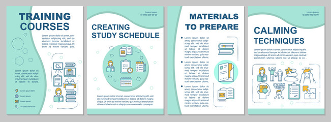 University entrance brochure template. Study schedule, materials. Flyer, booklet, leaflet print, cover design with linear icons. Vector page layouts for magazines, annual reports, advertising posters