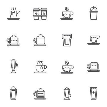 Coffee shop cups line icons set. linear style symbols collection, outline signs pack. vector graphics. Set includes icons as take away coffee cup, frappe glass, hot tea, cappuccino mug, water glass