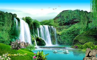 Fotobehang Groene 3d landscape illustration, a waterfall in a green forest, a pair of swans, sunset