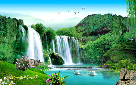 3d landscape illustration, a waterfall in a green forest, a pair of swans, sunset