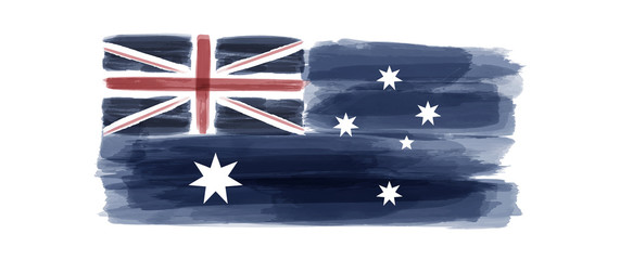 Australia National Day. Australian Flag with stripes and national colors. Watercolors.