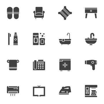 Hotel service vector icons set, modern solid symbol collection, filled style pictogram pack. Signs logo illustration. Set includes icons as slippers, armchair, bath accessories, coffee machine, tv set
