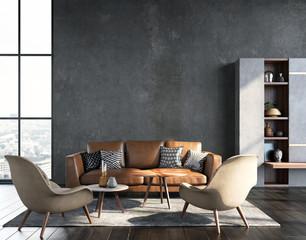 Wall Mural - Living room interior in loft, industrial style, 3d render