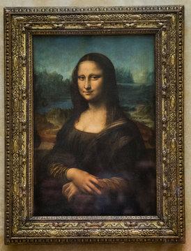 PARIS, FRANCE - MAY 6, 2017: Mona Lisa at the Louvre Museum. Paris, France.
