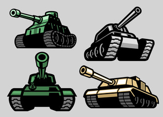 set bundle of military tank