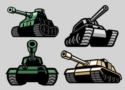 set bundle of military tank