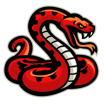 red snake mascot ready to attack