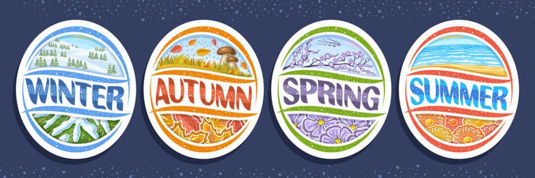 Vector set for Four Seasons, 4 isolated decorative seasonal badges, summer with sea waves, winter with spruce–fir forest in snowy mountains, spring with lilac branch, fall season with autumn rain.