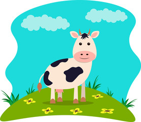 Poster Turkoois Vector illustration of farm animals with landscape - cute cow in cartoon style.