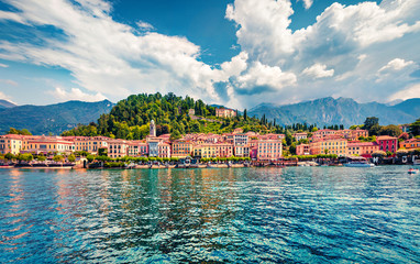 Splendid summer view from ferry boat of Bellagio town. Colorful morning scene of Como lake, Italy, Europe. Traveling concept background..