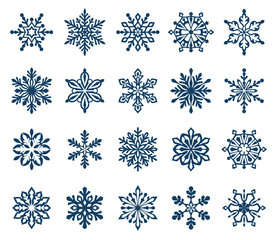 Set of decorative snowflake silhouettes isolated on white. New year holiday decoration Vector illustration