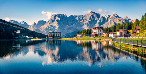 Panoramic morning view of Misurina village, National Park Tre Cime di Lavaredo, Location Auronzo,...