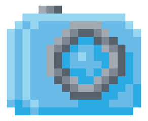 Camera icon for photos in a pixel 8 bit video game art style