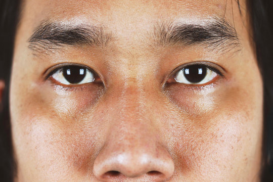 closeup eyes of asian men