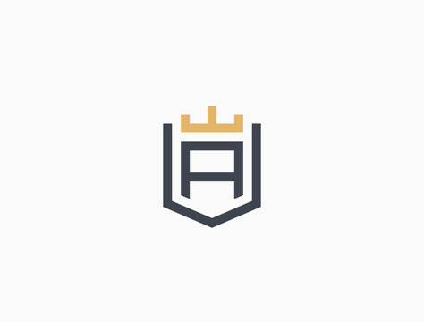 Line graphics monogram. Elegant art logo design. Letter A. Crown + Shield. Business sign, identity for Restaurant, Royalty, Boutique, Cafe, Hotel, Heraldic, Jewelry, Fashion. Vector elements