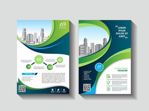 Vector Business brochure, flyers design template, company profile, magazine, poster, annual report, book & booklet cover, with green wavy line, and cityscape vector in background elements, size a4.