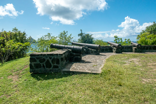 Medieval cannons on the hilltop of Fort Hamilton on Bequia Island, St Vincent and the Grenadines, Lesser Antilles, Caribbean