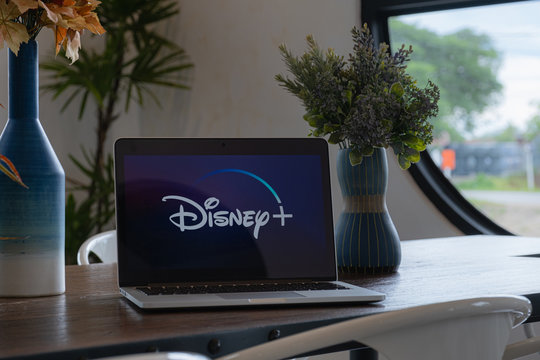 CHIANGMAI, THAILAND - JULY 17,2019 : Macbook with Disney plus on screen. Disney+ is an online video streaming subscription service, set to launch in the US in September.