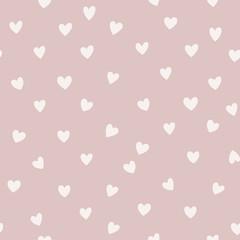 Wektorowy bezszwowy wzór z małymi sercami. Kreatywne skandynawskie dziecinne tło na Walentynki. Neutralne, obfite tło do pakowania papieru, tekstyliów, tkanin i kart. - 309210694